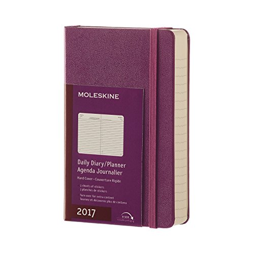 Moleskine 2017 Daily Planner, 12M, Pocket, Grape Violet, Hard Cover (3.5 x 5.5)