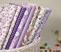 Little Flower with Different Styple Cotton Fabric Bundle Quilting Sweing Fabric 8pcs Color in Purple Size 20 X 25cm