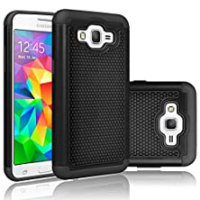 buy Grand Prime Case, Tekcoo(Tm) [Tmajor Series] [Coal Black] Shock Absorbing Hybrid Rubber Plastic Impact Defender Rugged Slim Hard Protective Case Cover Shell For Samsung Galaxy Grand Prime Lte