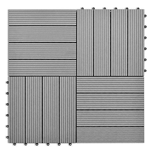 40826 WPC Fliesen, 11-teilig, für terrasse, Balkon, Garten, 30 x 30 cm, Grau