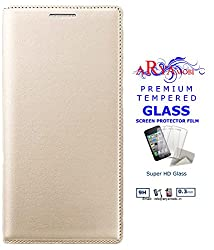 Aryamobi Premium PU Leather Quality Gold Flip case cover for Samsung On5 Pro + Tempered Glass Screen Protector Cover