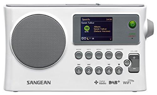 Sangean WFR-28C tragbares Internetradio (DAB+/UKW-Tuner, USB, UPnP/DMR Music Streaming, AUX-In, Weckfunktion, Dual Alarm) weiß