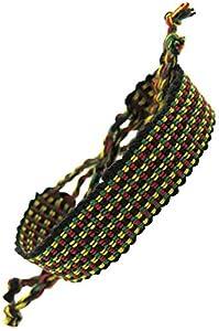 bracelet rasta reggae jamaique afrique rastafari tissu coton fait main