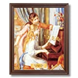 Renoir Two Girls At The Piano #2 Home Decor Wall Picture Cherry Framed Art Print