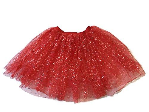 Rush Dance Ballerina Girls Dress-Up Sparkling Glitter Costume Recital Tutu (One Size, Red) (Supergirl Tutu Costume)