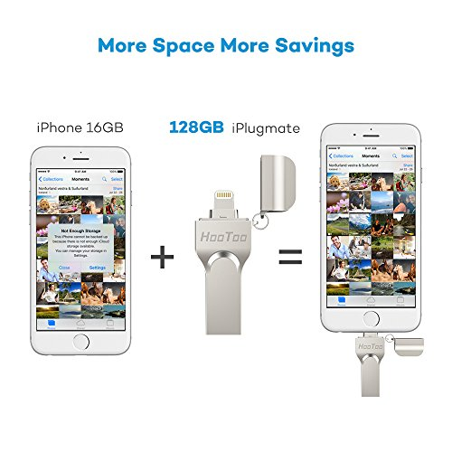 iPhone Lightning Flash Drive 128GB USB 3.0 Adapter for iPad iOS PC, HooToo External Storage Memory Stick with Extended Connector, iPlugmate