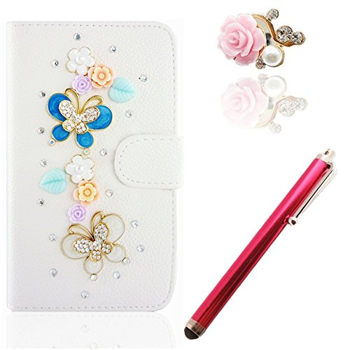 Vandot 3 In1 Accessory Set Cover Phone Case For Smartphone Apple Iphone 6 Plus 5.5 Inch 3D Bling Rhinestone Butterfly Leather Shell Bag Glitter Magnet Pu Flower Diamond Flip Case Camellia Diamond 3D Diy Case Crystal Mobile Phone Cover Case + Pink Metal St front-716100