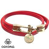 carina(カリーナ) ブレスレット ピンクゴールドの金具がオシャレなレザーブレスレット 2重 レディース(レッド)