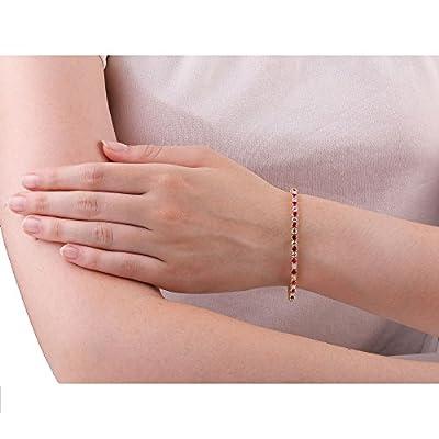 Stardust Ruby and Diamond Silver Tennis Bracelet (GOLD)