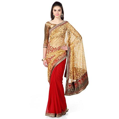 22230020365b35 Janasya Women's Brasso & Net Saree (JNE0641.D _Multi-Coloured) Price ...