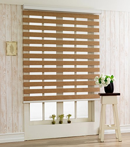 Custom Cut to Size , [Winsharp Woodlook 47 , Walnut , W 35 x H 64 (Inch)] Horizontal Window Shade Blind Zebra Dual Roller Blinds & Treatments , Maximum 91 Inch Wide by 103 Inch Long