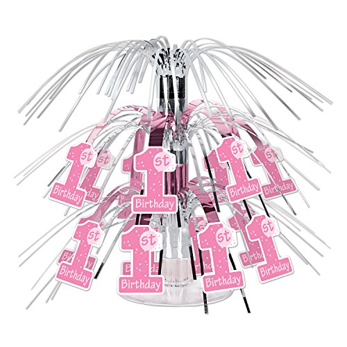 Beistle 1st Birthday Mini Cascade Centerpiece, 7 1/2-Inch, Pink/White/Silver