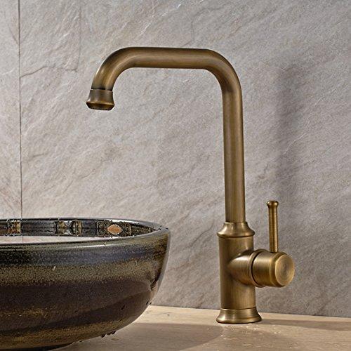 Vintage Deck Mount Single Hanle Control Single Hole Mixer Taps Swivel Lavatory Basin Taps Basic Style Antique Brass Tall Spout Vessel Bathroom Faucet 1