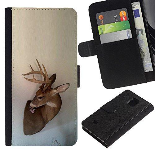 Antlers Beige Natura Primavera animale - Portafoglio in pelle della Carta di Credito fessure PU Holster Cover in pelle case Per Samsung Galaxy S5 Mini (Not S5), SM-G800