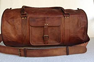 Passion Leather 24 Inch Duffel Travel Gym Sports Overnight Weekend Leather Bag by Passion Leather