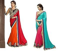 Pragya creations Women's Chiffon Saree (Prag38_Multi)-pack of 2