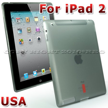SMOKE GREY GEL TPU SMOOTH PROTECTIVE BACK CASE COVER SHELL SNAP-ON FOR NEWEST APPLE IPAD 2 2ND GENERATION 3G WIFI 16/32/64 GB