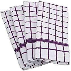 "DII 100% Cotton, Machine Washable, Basic Everyday, Terry, Kitchen Dishtowel, Ultra Absorbant, Windowpane Design, 16 x 26"" Set of 4- Eggplant"
