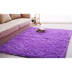 Ultra Soft 4.5 Cm Thick Indoor Morden Area Rugs Pads New Arrival Fashion Color Bedroom Livingroom Sitting-room Rugs Blanket Footcloth for Home Decorate. Size: 4 Feet X 5 Feet (Purple)