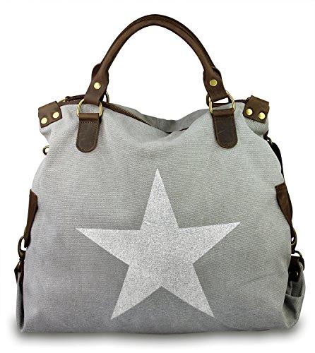 IO.IO.MIO. Italia grande Shopper Pelle Tela Mix Stelle Colore A Scelta , 40x35x15 cm (B x H x T) - grigio, Taglia Unica