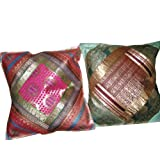 2 Green Pink Vintage Silk Sari Toss Pillow Cushion Coversby Mogulinterior