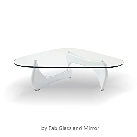Noguchi Style Coffee Table White Color with Clear glass Top