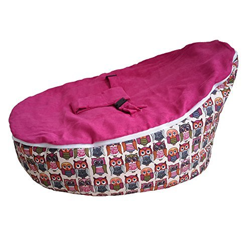 mood-to-hoot-owls-baby-bean-bag-seat-snuggle-bed-filled-and-ready-to-use-by-vesta-baby-hot-pink
