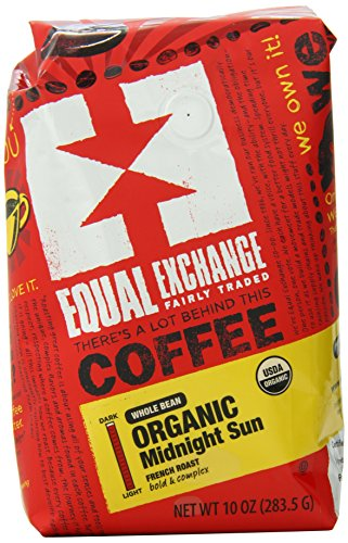 Equal Exchange Organic Midnight Sun Whole Bean Coffee, 10 Ounce (Pack Of 6)