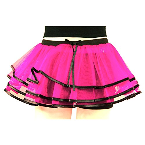 Uv Neon Hot Pink Lilly Ribbon Layers Tutu Clubbing Party Dance Skirt Halloween