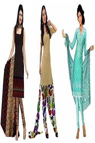Araham soft crepe / American crepe dress material / unstitched Salwar Suit pack of 3 combo No 600