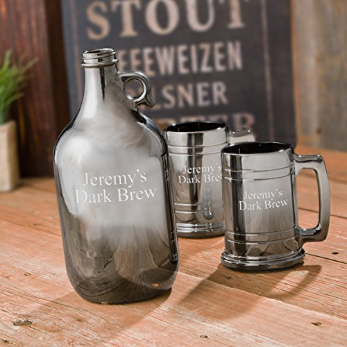 Personalized Gunmetal Beer Growler Set (Cool Beer Growler compare prices)