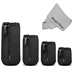 (4 Pack) Altura Photo Thick Protective Neoprene Pouch Set for DSLR Camera Lens (Canon, Nikon, Pentax, Sony, Olympus, Panasonic) - Includes: Small, Medium, Large and Extra Large Pouches + MagicFiber Microfiber Lens Cleaning Cloth