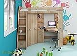 HochbettEtagenbettentresole-alle-in-einer-links-Ablesen-Treppen-Kinderchilderen-Mbel-Set-Bett-Kleiderschrank-Regal-Schreibtisch-Sonoma-Oak