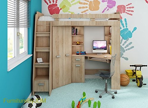 hochbett etagenbett entresole alle in einer links ablesen treppen kinder childeren m bel set. Black Bedroom Furniture Sets. Home Design Ideas