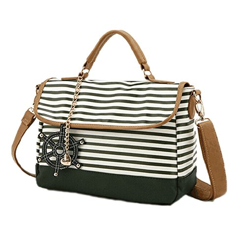MapleClan Preppy Style Blue/Green Stripe PU Sling Bag/Handbag With Love Heart Pendant