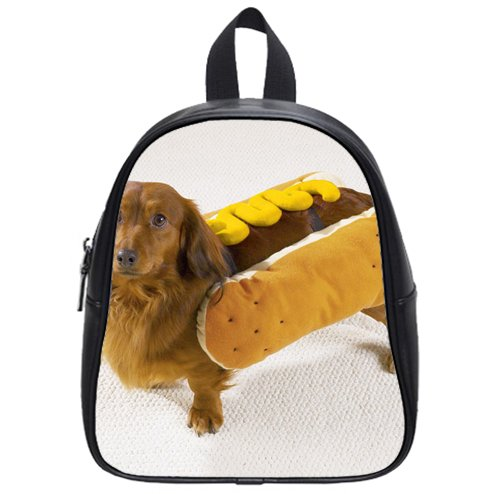 great design hot dog with mustard dog costume Custom Kids School Backpack Bag(Small) decorative