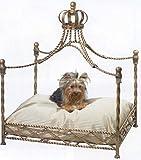 ラグジュアリー ドッグソファー 家具 ロイヤル クラウン 愛犬 ベッド ペット アンティーク 小型犬 [ゴールド/ブラウン]