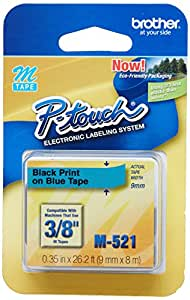 Brother 3/8 Inch x 26.2 Feet Black on Metallic Blue for P-Touch (M521) - Retail Packaging