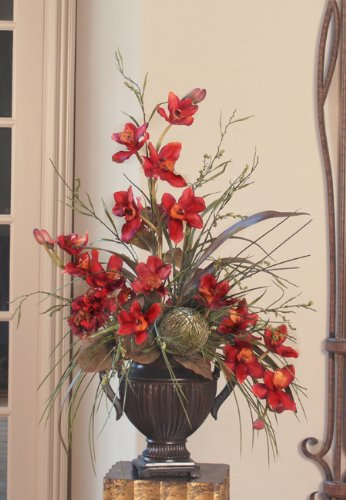28″ Red Cymbidium Silk Orchid Arrangement in Urn