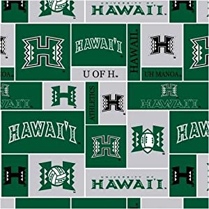 60 39 39 wide collegiate fleece university of hawaii blocks fabric by the yard. Black Bedroom Furniture Sets. Home Design Ideas
