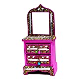 A Ethnic Glitter Mirror Work Beaded Mirror Jewellery Boxes Lac Item (Pink)