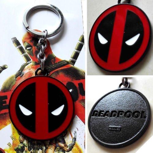 Marvel, X-Men, motivo: Deadpool Logo, colore: Nero, 5 cm, colore: rosso-Portachiavi in metallo