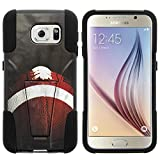 Galaxy S6 Case, Dual Layer Shell STRIKE Impact Kickstand Case with Unique Graphic Images for Samsung Galaxy S6 VI SM-G920 (T Mobile, Sprint, AT&T, US Cellular, Verizon) from MINITURTLE | Includes Clear Screen Protector and Stylus Pen - Football Lace Close Up