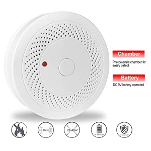 4 Pack Battery Operated Smoke Detector & Fire Alarm with Photoelectric Sensor,Easy to Install with Test Button (Color: White, Tamaño: 4.4 x 4.4 x 1.2 in)
