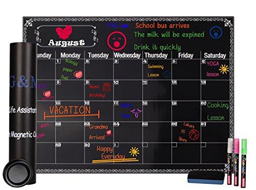 Magnetic Refrigerator Calendar Kit Monthly Dry Erase Black Chalkboard Board for Kitchen Fridge 16