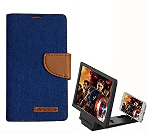 Aart Fancy Wallet Dairy Jeans Flip Case Cover for MicromaxA104 (Blue) + 3D SCREEN MAGNIFIER - HD VIDEO AMPLIFIER - with Stylish foldable holder stand by Aart Store.