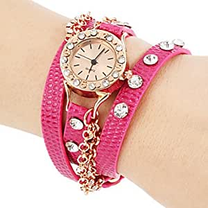 Women's Diamante Rose Gold Round Dial PU Band Quartz Analog Fashion Watch (Assorted Color) ( Color : Purple )