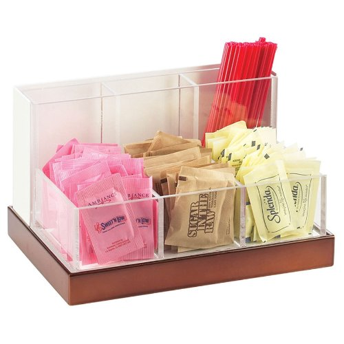 Cal Mil 3013-51 Luxe Packet And Stir Stick Organizer With White Metal Frame, Acrylic Insert, And Cop