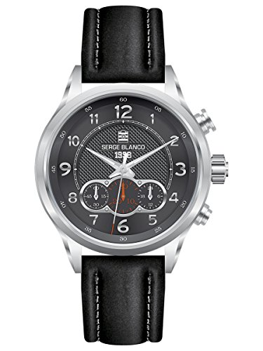 SERGE BLANCO OROLOGIO UOMO COLLECTION 1958 CHRONO-BRACCIALETTO IN PELLE NERO, A REFERENCE SB5854/1