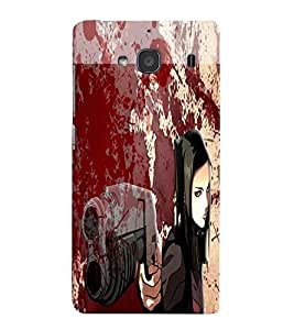 Fuson Blood Gun Girl Back Case Cover for XIAOMI REDMI 2S - D3831
